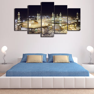 Modern Islamic Muslim Poster  5 Panel Wall Art Canvas Painting 5 Panels Wood N Canvas Wall Art Paintings