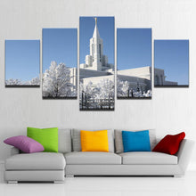 Load image into Gallery viewer, Mormon Temple During Winter 5 Panels Wood N Canvas Wall Art Paintings