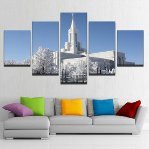 Mormon Temple During Winter 5 Panels Wood N Canvas Wall Art Paintings
