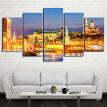 Load image into Gallery viewer, Moscow Houses Rivers Bridges 5 Panels Wood N Canvas Wall Art Paintings