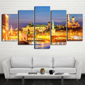 Moscow Houses Rivers Bridges 5 Panels Wood N Canvas Wall Art Paintings
