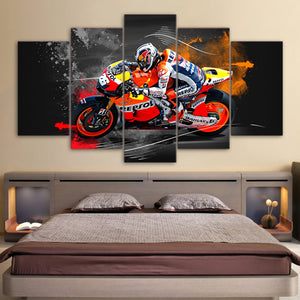 Motorcycle Racing 5 Panels Wood N Canvas Wall Art Paintings