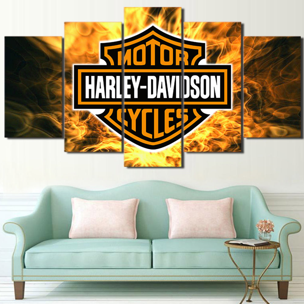 Motorcycle logo 5 Panels Wood N Canvas Wall Art Paintings