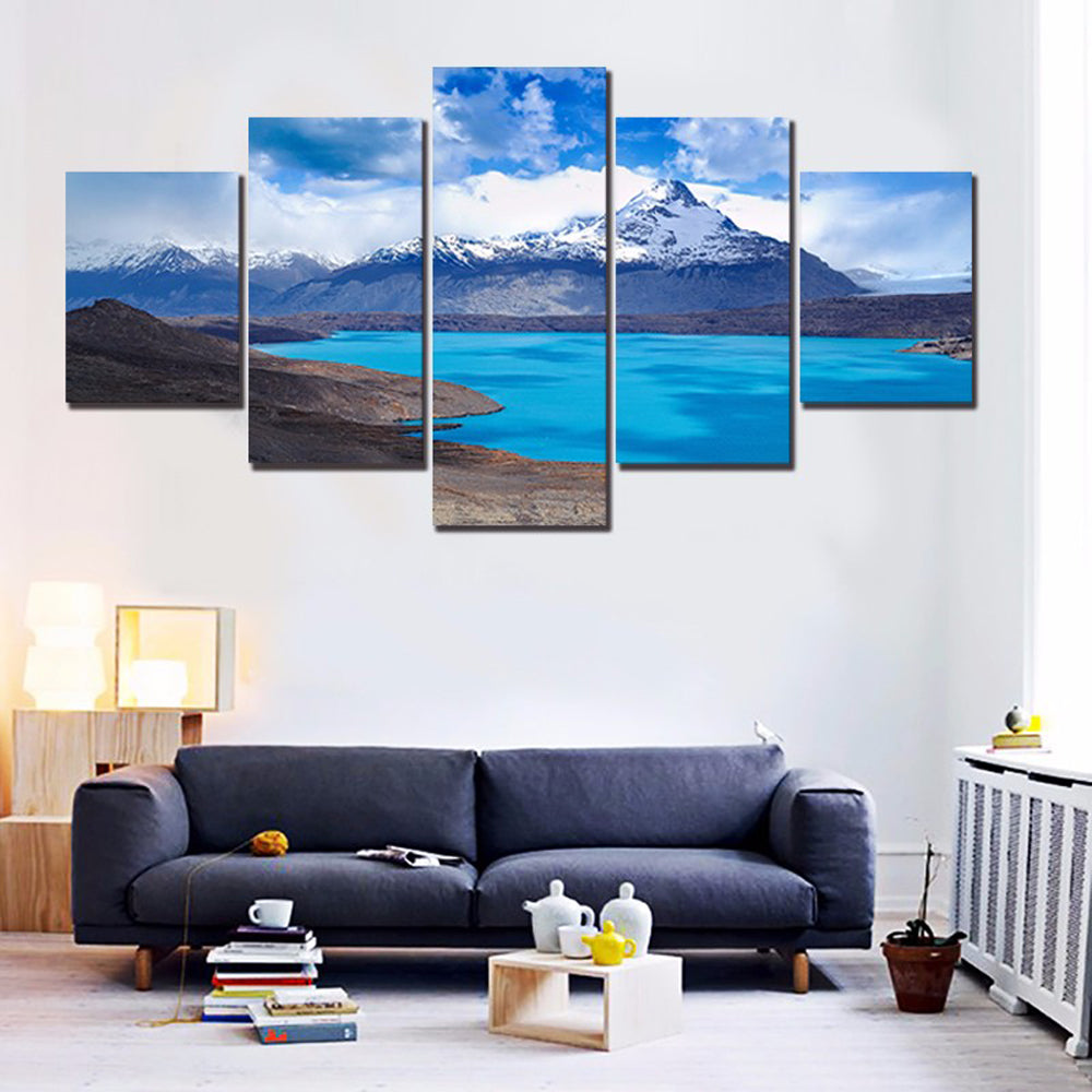 Mountain Peaks Lakes 5 Panels Wood N Canvas Wall Art Paintings