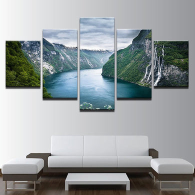 Mountain River 5 Panels Wood N Canvas Wall Art Paintings