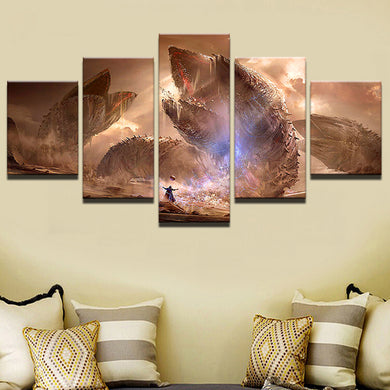 Movie Scene 5 Panels Wood N Canvas Wall Art Paintings