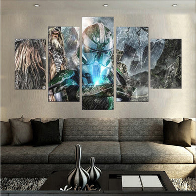Movie Poster-5 5 Panels Wood N Canvas Wall Art Paintings