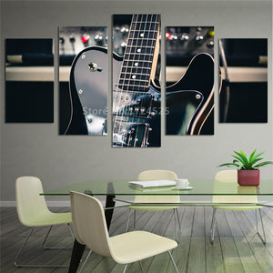 Music Instrument Guitar 5 Panels Wood N Canvas Wall Art Paintings