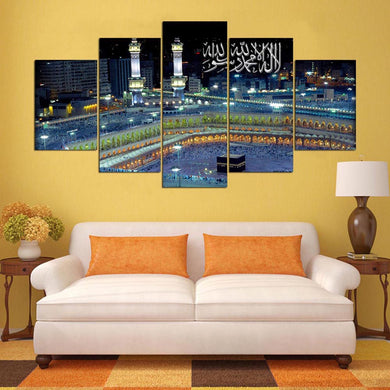 Muslims Of Islam 5 Panels Wood N Canvas Wall Art Paintings