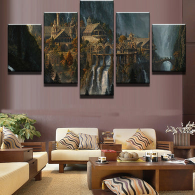 Mysterious Mountain Castle 5 Panels Wood N Canvas Wall Art Paintings