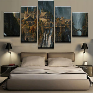 Mysterious Mountain Castle Waterfall 5 Panels Wood N Canvas Wall Art Paintings
