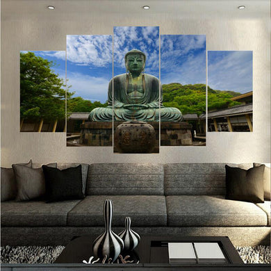Natural Buddha 5 Panels Wood N Canvas Wall Art Paintings