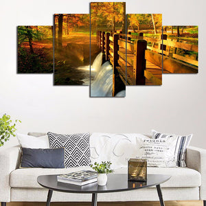 Nature Scenery River 5 Panels Wood N Canvas Wall Art Paintings