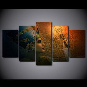 Nefertiti 5 Panels Wood N Canvas Wall Art Paintings
