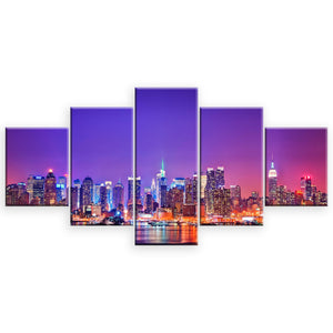 New York 5 Panel Wall Art Canvas Painting 5 Panels Wood N Canvas Wall Art Paintings