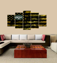 Load image into Gallery viewer, New York Jets logo 5 Panels Wood N Canvas Wall Art Paintings
