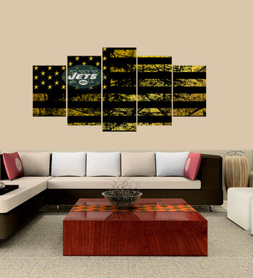 New York Jets logo 5 Panels Wood N Canvas Wall Art Paintings
