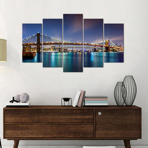 New York Night View LED 5 Panels Wood N Canvas Wall Art Paintings