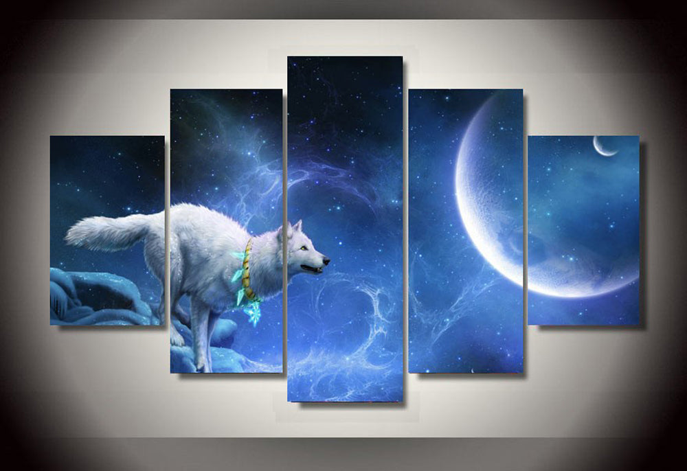 Nice White Wolf Moon 5 Panels Wood N Canvas Wall Art Paintings