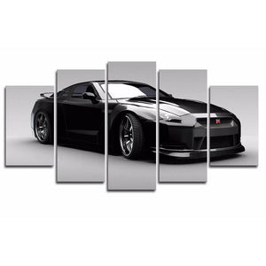 Night Scene Sports 5 Panels Wood N Canvas Wall Art Paintings