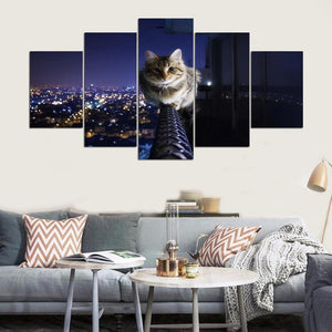 Nightlife Cat 5 Panels Wood N Canvas Wall Art Paintings