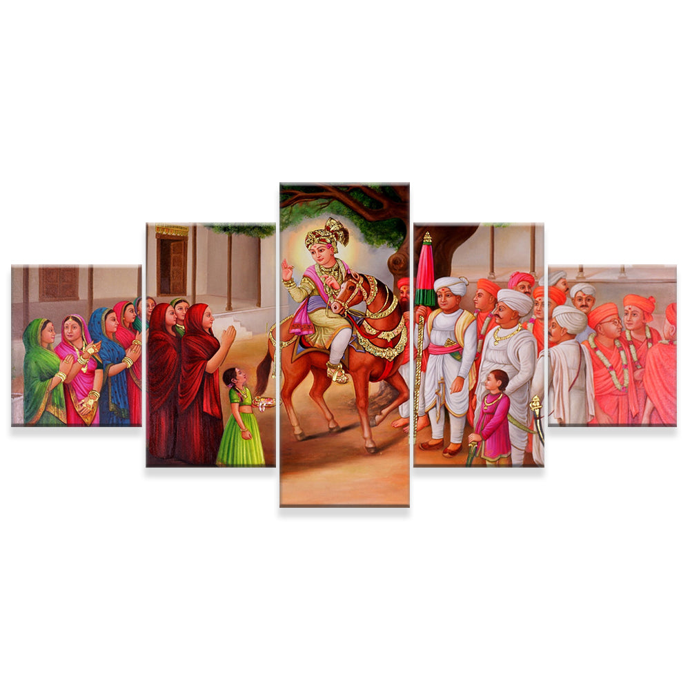 Nilkanth Maharaj 5 Panels Wood N Canvas Wall Art Paintings