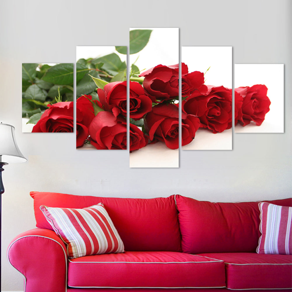 Nordic rose flower 5 Panels Wood N Canvas Wall Art Paintings