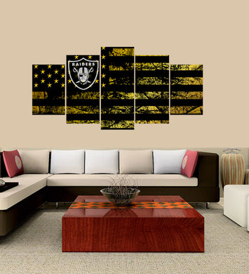 Oakland Raiders logo 5 Panels Wood N Canvas Wall Art Paintings