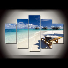 Load image into Gallery viewer, Ocean Sand Beach Log Cabin 5 Panels Wood N Canvas Wall Art Paintings