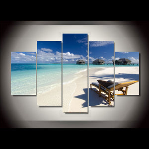 Ocean Sand Beach Log Cabin 5 Panels Wood N Canvas Wall Art Paintings