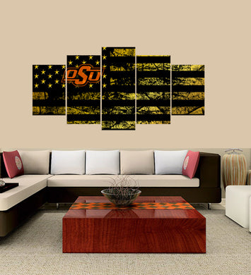 Oklahoma State Cowboys logo 5 Panels Wood N Canvas Wall Art Paintings