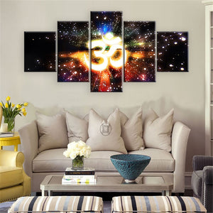 Om Lights 5 Panel Wall Art Canvas Painting 5 Panels Wood N Canvas Wall Art Paintings