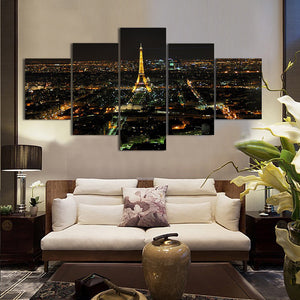 Paris Night Scene 5 Panels Wood N Canvas Wall Art Paintings