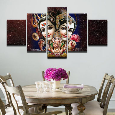 Parvati - Ganesh - Shiva 5 Panels Wood N Canvas Wall Art Paintings