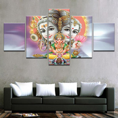 Parvati Ganesh Shiva Light 5 Panels Wood N Canvas Wall Art Paintings