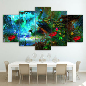 Peacock Painting 5 Panels Wood N Canvas Wall Art Paintings