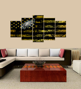 Philadelphia Eagles logo 5 Panels Wood N Canvas Wall Art Paintings
