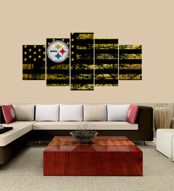 Pittsburgh Steelers logo 5 Panels Wood N Canvas Wall Art Paintings