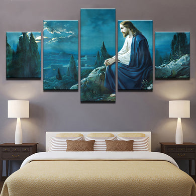 Prayer Jesus Gethsemane 5 Panels Wood N Canvas Wall Art Paintings