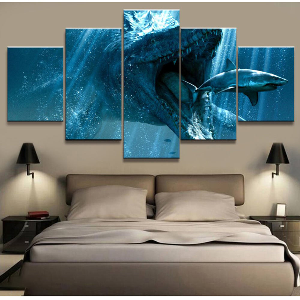 Predators 5 Panels Wood N Canvas Wall Art Paintings