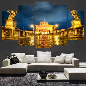 Pretty Castle Night 5 Panels Wood N Canvas Wall Art Paintings