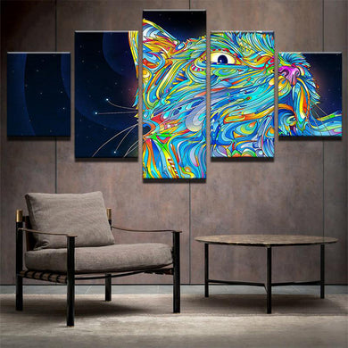 Psychedelic Cat 5 Panels Wood N Canvas Wall Art Paintings