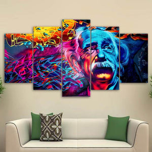 Psychedelic Einstein 5 Panels Wood N Canvas Wall Art Paintings