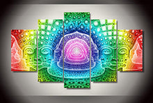 Load image into Gallery viewer, Psychedelic Hallucinating 5 Panels Wood N Canvas Wall Art Paintings