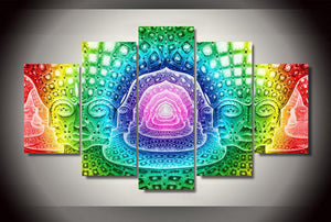 Psychedelic Hallucinating 5 Panels Wood N Canvas Wall Art Paintings
