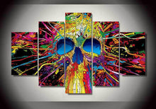 Load image into Gallery viewer, Psychedelic Skull 5 Panels Wood N Canvas Wall Art Paintings