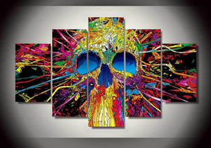 Psychedelic Skull 5 Panels Wood N Canvas Wall Art Paintings