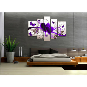 Purple Hearts 5 Panels Wood N Canvas Wall Art Paintings