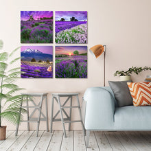 Load image into Gallery viewer, Purple Lavender Flowers 4 Panels Wood N Canvas Wall Art Paintings