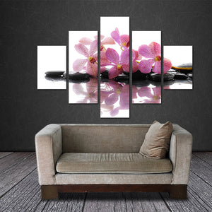 Purple Orchid 5 Panels Wood N Canvas Wall Art Paintings